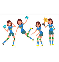 handball young woman player girl athlete vector image