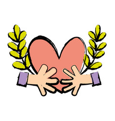 hands with heart and branches with leaves vector image