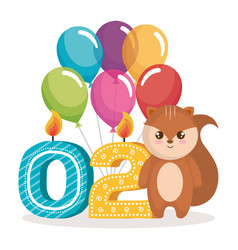 Happy birthday card with chipmunk vector