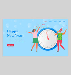 happy new year couple celebrating winter holidays vector image