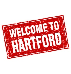 Hartford red square grunge welcome to stamp vector