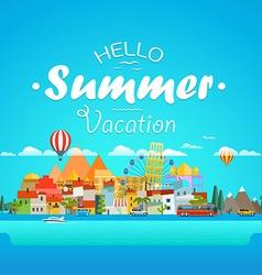 Hello summer vacation concept Cityscape vector