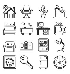 home furniture icons set on white background vector image