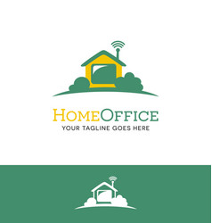 house logo with wifi work from home vector image