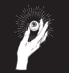 Human eyeball in female hand tattoo design vector