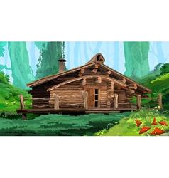 Hut in woods vector