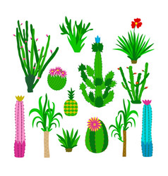 Icons set with cactus vector