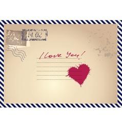 Imitation postcar with heart vector
