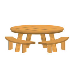 Isolated wood table and bench design vector