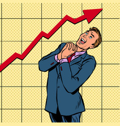 joyful businessman growth chart vector image
