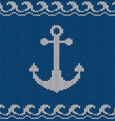 Knitted seamless pattern with anchor vector image