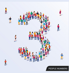Large group people in number 3 three form vector