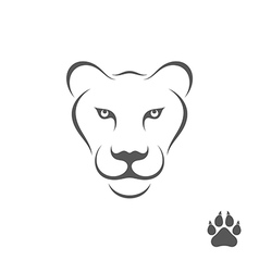 Lioness with paw print vector