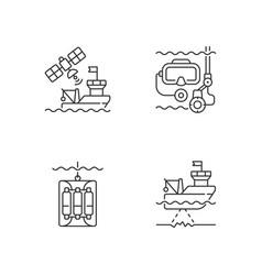 marine exploration linear icons set vector image