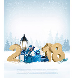 Merry christmas background with 2018 and gift vector