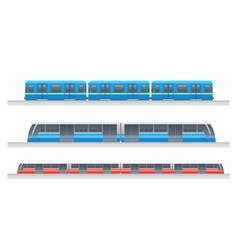 modern passenger urban underground train set vector image