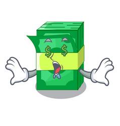 Money eye set money in packing bundles cartoon vector
