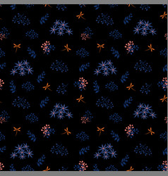 monotone seamless pattern with blue flowers vector image