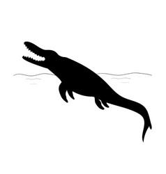 mosasaurus silhouette dinosaur jurassic vector image