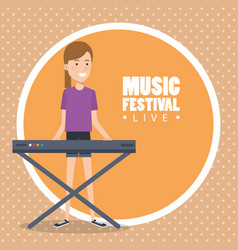 Music festival live with woman playing piano vector