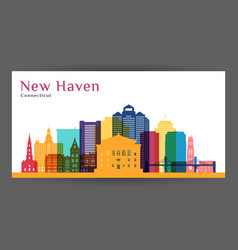 new haven city architecture silhouette colorful vector image