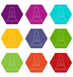 no parking cone icons set 9 vector image