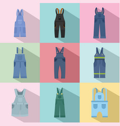 overalls workwear icons set flat style vector image