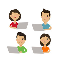 people are sitting at laptop on internet social vector image
