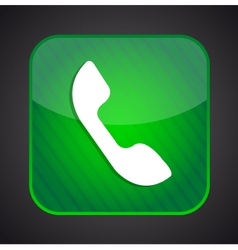 Phone icon - green app button vector image