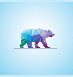 polygonal abstract bear logo vector image