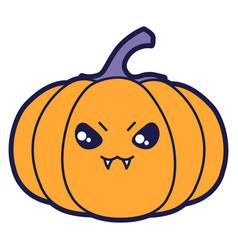 Pumpkin in cartoon style happy vector
