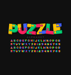Puzzle game style 3d font jigsaw alphabet vector