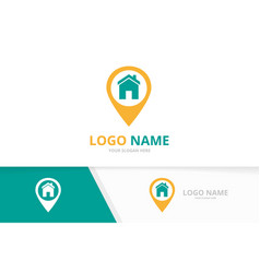 Real estate and pin logo combination house vector
