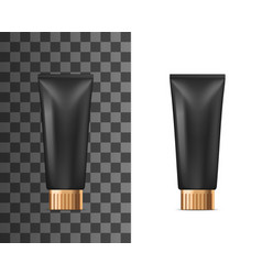 realistic black plastic tube cosmetic cream vector image
