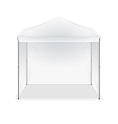 Realistic detailed 3d blank outdoor white tent vector