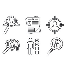 Recruitment expert icons set outline style vector