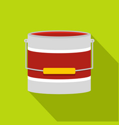 Red paint bucket icon flat style vector
