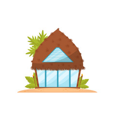 Romantic tropic house with straw roof beach vector