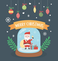 santa in crystal ball hanging balls celebration vector image