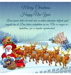 Santa with sledge full of gifts and reindeers vector