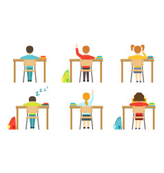 schools pupils sitting at desks at classroom view vector image