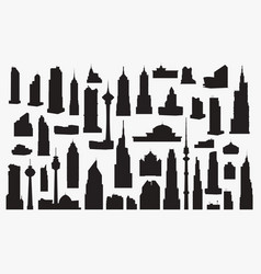 set of silhouettes of high vector image