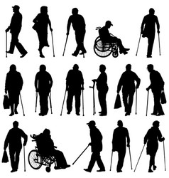 Set silhouette disabled people on a white vector
