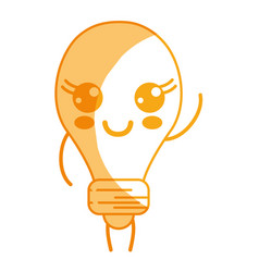 Silhouette kawaii cute happy bulb energy vector