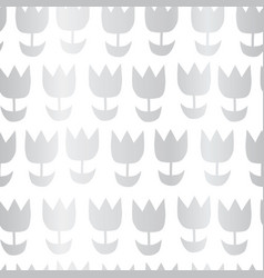 silver foil abstract flowers repeating on white vector image