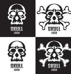 Skull logo set Human skulls set vector image