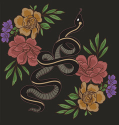 snake and floral vector image