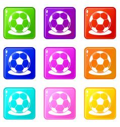 soccer ball icons 9 set vector image