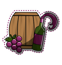 Sticker bottle splashing wine barrel and grape vector