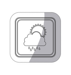 Sticker monochrome silhouette square button with vector